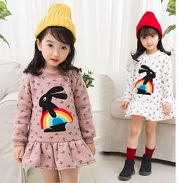 Wholesale Girls Patching Dress - 2017 Winter New Girl Dresses High collar rabbit patch Thick Long Sleeve Dress Children Clothing 2-7Y 318361