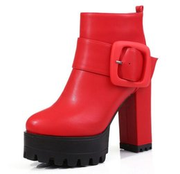 Wholesale Knight Belt Buckle - New Arrival Hot Sale Specials Super Fashion Influx Martin Roman Sexy Red Belt Buckle Martin Retro Thick Bottom Knight Ankle Boots EU34-39