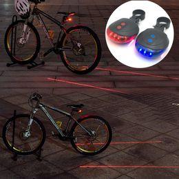 Wholesale Bike Rear Laser - LED Bicycle Rear Light 5 LED+ 2 Laser Tail Light Safety Warning Bicycle Bike Light Night Mountain Lamp Waterproof Bike Laser Accessories