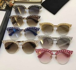 Wholesale Silver Round Stud Rivets - Hot Designer Stud Pearls Rivets 0212 S Sunglasses Fashion Brand Sunglass with hard box