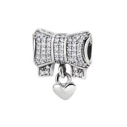 Wholesale 925 Sterling Silver Bracelet Bow - 2016 Spring Collection 925 Sterling Silver Bow silver charm with clear cubic zirconia and heart Fit Original Bracelet Wholesale