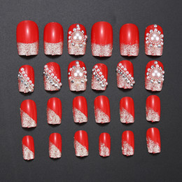Wholesale Elegant Nail Tips - Wholesale- Elegant 24PCS Finished False Nails UV GEL Full Set with 3D White Pearl Mix Red Nail Polish for Lady Women Wedding Nail Beauty