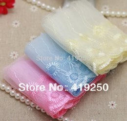 Wholesale Sewing Trims Doll - 10pcs 14.5yard various colors embroider scalloped Lace Fabric Trim DIY sewing cloth doll Fabric width 80mm.
