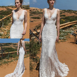 Wholesale Classy Beach Wedding Dresses - Classy Mermaid Beach Wedding Dresses Long Train Deep V Neck Backless Lace Appliqued Bridal Gowns Vintage Beads Bride Dress