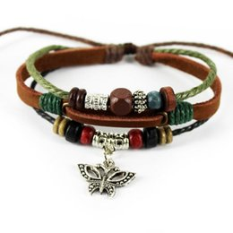 Wholesale Wholesale Unisex Tribal Jewelry - A1006 latest charming jewelry Wholesale (120pcs lot) handmade genuine ethnic tribal adjustable leather bracelets for Unisex