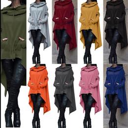 Wholesale Hooded Blouse - Womens Pullovers Hoodies Casual Irregular Solid Hooded Sweatshirts Female Plus Size Shirts Autumn Blouses Sweatshirts KKA2725