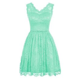 Wholesale Short Mint Dresses - 2017 Mint Green Lace Short Bridesmaid Dresses A-line V-neck Real Pictures Maid Of Honor Gowns For Weddings Party Cheap Price