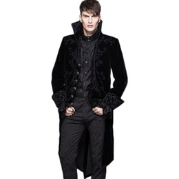 Wholesale Gothic Winter Jacket - Wholesale- Steampunk Winter Men Wool Coat Punk Gothic Single Breasted Long Sleeve Clothing Male Trench Coat Black Red Jacket Without Hooded