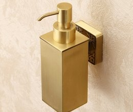 Wholesale Bathroom Wall Soap Dispenser - Free shipping New Wall Mount Bathroom Solid Brass Soap Dispenser Square Shape Liquid Soap Box LLFA