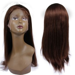 Wholesale Medium Length Straight Hair Wigs - Cheap Yaki Straight Virgin Full Lace Human Hair Wigs #4 Brown Raw Indian Hair Light Yaki Glueless Lace Front Wigs With Baby Hair