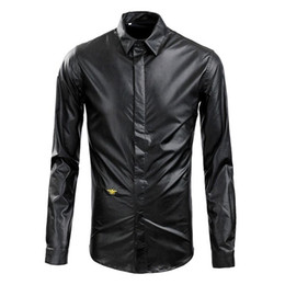 Wholesale Long Sleeve Leather Shirt Mens - Wholesale- 2016 New Arrived Men Clothing Casual Slim Fit Leather Shirt Men Shirt Long Sleeve Mens Dress Shirts Long Sleeve Designer