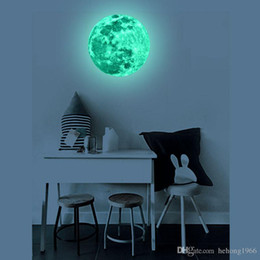 Wholesale Moon Room Wall Light - Wall Sticker Luminous 3D Super Bright Moon Glow In The Dark For Kid Room Fluorescence Light Decal Creative Home Decor 12lf F R