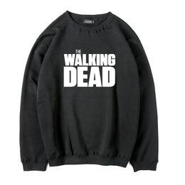 Wholesale Active Walking - Cotton blend thick fleece the walking dead printed men hooides and sweatshirts casual cool men o-neck sweatshirt