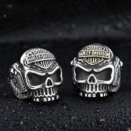 Wholesale Cheap 18k Gold Rings - 316 L STAINLESS STEEL BIKRER SKULL RINGS HIP HOP JEWELRY FOR CHEAP JEWELRY