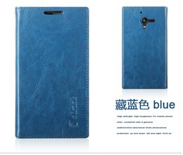 Wholesale Xperia Zl Covers - cover case Sucker Cover Case For Sony Xperia ZL L35h C6503 C6502 High Quality Luxury Genuine Leather Flip Stand Mobile Phone Bag
