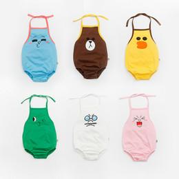Wholesale Baby Sleeveless Bodysuits - 2017 baby boys girl clothing romper casual cartoon animals newborn one-piece infant bodysuits cotton sleeveless kid clothes wear summer