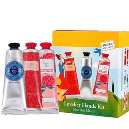 Wholesale Novo pacote Famosa Shea Butter Peônia rosa creme para as mãos com peças pacote terno mini loções para as mãos de compras grátis ml ml caixa