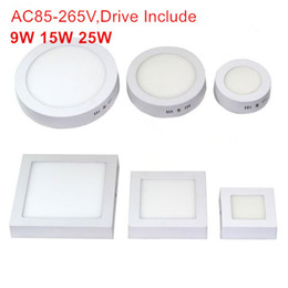 Wholesale Sale Power Led - Surface Mounted LED Panel Lights SMD 2835 180 Degree LED Lighting 9W 15W 25W High Power 110-265V Hot Sale Downlight