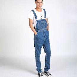 Wholesale Winter Bib Overalls - Wholesale-Autumn Winter Men`s Bib Denim Overalls Cowboy Big Size 30-40 Regular Fit Blue Jeans Jumpsuit For Men Big and Tall
