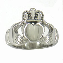 Wholesale Claddagh Bands - 11W28 STAINLESS STEEL JEWELRY INFINITY LOVE HEART RING PRINCESS CROWN CLADDAGH FRIENDSHIP RING CELTIC RING GIFT FOR SISTERS