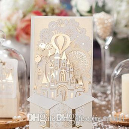Wholesale Dress Wedding Card - New Personalized Design White The Bride and Groom Dress Style Invitation Card Wedding Invitations Envelopes Sealed Card Top Quality CW5093