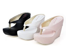 Wholesale Button Wedge Shoe - wholesaler free shipping factory price wedge heel sandal flip flops Flange Belly button high heel women shoe foreign trade24