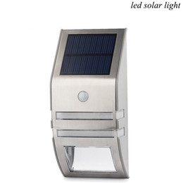 Wholesale Stainless Steel Solar Garden Lamp - Solar LED Light Stainless Steel Solar Light Sensor Body Infrared Induction Lamp 2LED Outdoor Lamp Wall Lamp PIR
