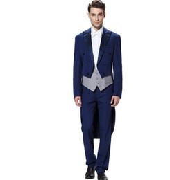 Wholesale Royal Blue Vest L - new design men suits classic royal blue groom suits tailcoat handsome groomsman tuxedos prom suits jacket+vest+pants