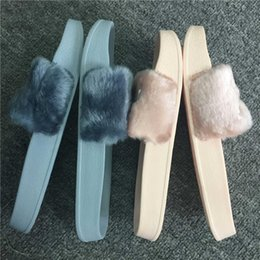 Wholesale Slip Girls Slipper Shoe - (With Box+Dust Bag) Wholesale Leadcat Fenty Rihanna Shoes Women Slippers Indoor Sandals Girls Fashion Scuffs Pink Black White Grey Fur Slide
