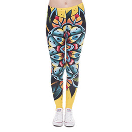 Wholesale Girl Tattoo Flowers - Women Leggings Tattoo Flower 3D Graphic Print Girl Floral Skinny Stretchy Yoga Wear Pants Sport Workout Full Length Yellow Trousers (J41607)
