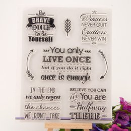 Wholesale Scrapbook Letters - Wholesale- LETTER SLOGAN Clear stamp Scrapbook DIY Photo Album Card Hand Account Rubber Product Transparent Seal Stamps school Kid gift