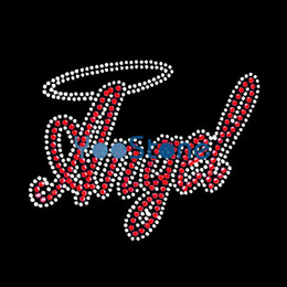 Wholesale Appliques Hotfix - Hot Sale Word Angel Rhinestone Iron On Transfers Hotfix Motif Heat Transfer Applique