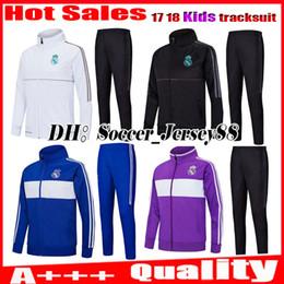 Wholesale Black Children Tracksuits - Kids 2017 2018 ASENSIO Real madrid trainingsuit kits tracksuit child soccer Jersey Longsleeve RONALDO BALE RAMOS ISCO MODRIC football jacket