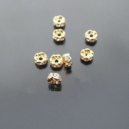 Wholesale Bling Spacers - Diy every bead block pearl alloy zircon rhinestone septate ring bling pearl crystal necklace