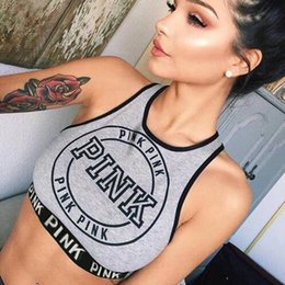 Wholesale Lady Tops Design - 2017 Gray Women Tank T-shirt Tops Fashion love camis Pink Printed Lady Camisoles Cute Design Girl's O-Neck Slim Vest Fitness wear