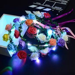 Wholesale Led Headbands Light Up - Flashing LED Glow Flower Headbands Light Up Party Floral Hair Garland Wreath Wedding Flower Crown Floral Garland Boho for Festival KKA2688