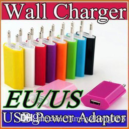 Wholesale universal multi plug travel adapter - 200X Colorful EU US Plug USB Wall Charger Travel Charger US EU Adapter for iphone 6 6S 7Plus for Samsung Galaxy Cellphones Multi-color C-SC