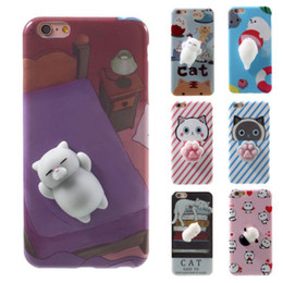 Wholesale Iphone Panda Cases 3d - 2017 Kawaii New 3D Squeeze Cat Seal Panda Silicon Lovely Case for iPhone 7 6 6S Plus Cute Squeeze Squishy Stretchy Toy Phone Skin Cover