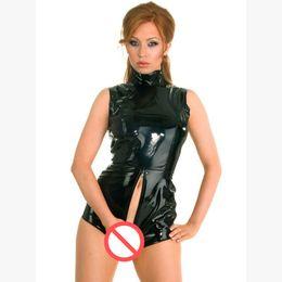 Wholesale Women Leather Overalls - Plus Size Women Sex Game Uniforms Black Latex Catsuit Faux Leather Lingerie Women Jumpsuit Overalls Sexy Crotchless Teddies