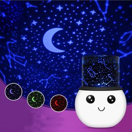 Wholesale Led Starry Sky Projection Lamp - Wholesale- Creative Star Sky Projector LED NightLight Cute Romantic Colorful Projection Lamp USB Charge led Starry Stars Night Lights Gift