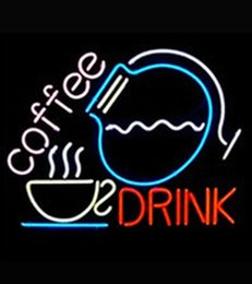 """Wholesale Advertising Coffee Cups - Coffee Drink Cup Pot Neon Sign Handmade Custom Real Glass Tube Store Shop Clubs Pub Bar Party Advertised Display Neon Signs 17""""X14"""""""