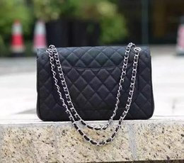 Wholesale Caviar Jumbo Bag - Price Large Classial 30CM Jumbo Quilted Chain Black Genuine Caviar leather Double Flap Fashion Shoulder Chain Bags Silver Hardware