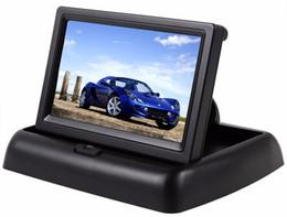 Pantalla tft pulgadas online-Monitor de visión trasera para autos de 4.3 pulgadas con reserva de pantalla LCD TFT digital Pantalla trasera plegable de vehículos Monitores de alta definición