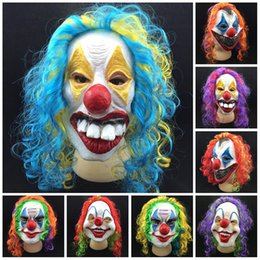 Wholesale Woman Scary Halloween Masks - Horror Ghost Masks For Adults Masquerade PartySupplies Latex Funny Clown Wry Face Scary Vizard Mask Personality Cute 10gn B R