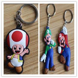 Wholesale Mario Key - Super mario Anime PVC Keychain Cartoon comics key ring pendant Small hang tags Handbag Decorations Giftware Wholesale 20pcs lot