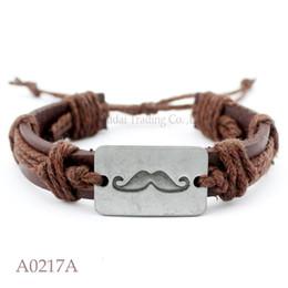 Wholesale Moustache Silver - (10PCS lot) Plated Moustache Charm Adjustable Leather Bracelet for Men & Women Punk Friendship Jewelry Any Color