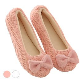 Wholesale C Cashmere - Wholesale- Retail Lovely Ladies Home Floor Soft Women indoor Slippers Outsole Cotton-Padded Bow Shoes Female Cashmere Warm Casual Shoes
