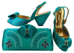 Wholesale Office Leather Bags For Women - Beautiful water blue shoes match bags with rhinestones bowtie series african lady shoes and handbag set for dress MM1041,heel 7.5CM