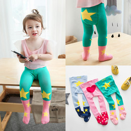 Wholesale Star Legging Pants - Cute Girls Tights Leggings Pure Cotton Pantyhose Antiskid Leg Socks Pants Clothing Star Love Heart Pants Princess Girl's Legging Pant A6356