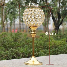 Wholesale Wholesale Metal Candle Cups - New 2pcs metal gold plated candle holder with crystals wedding candelabra centerpiece decoration candlestick